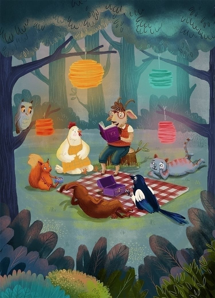Woodland critters reading book - puikeprent   ello