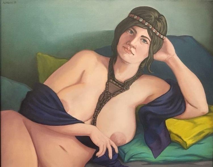 'Mata Hari' oil linen, 24x30 Pa - art_drunk | ello