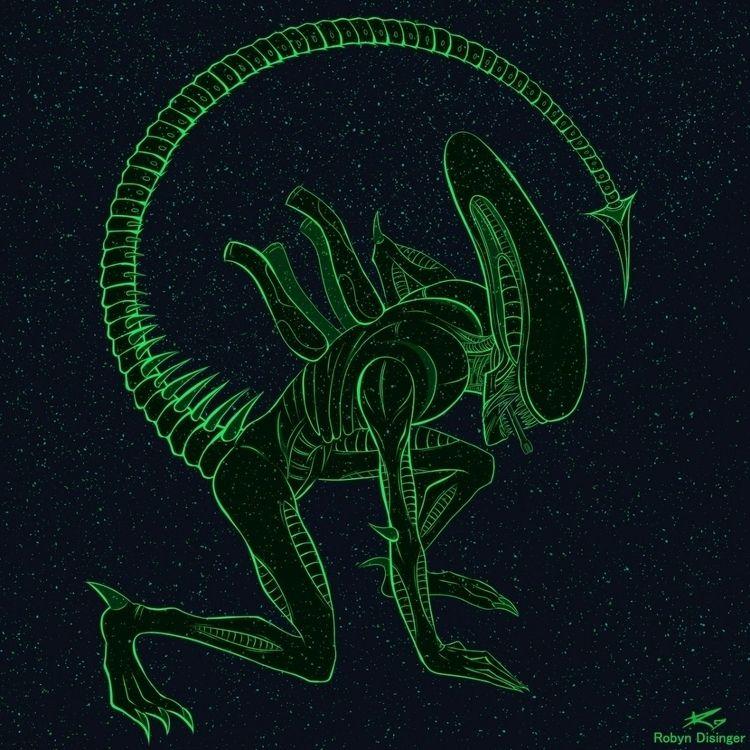xenomorph, digitalart, monsterart - jollymacabre | ello