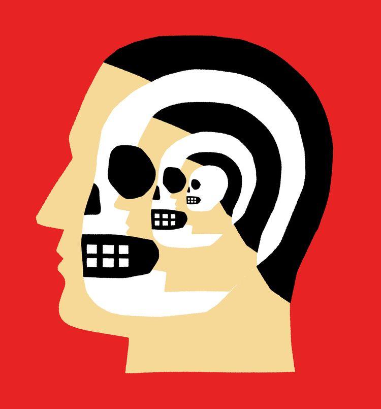 Overthinking - skull, dead, portrait - grossillustration | ello