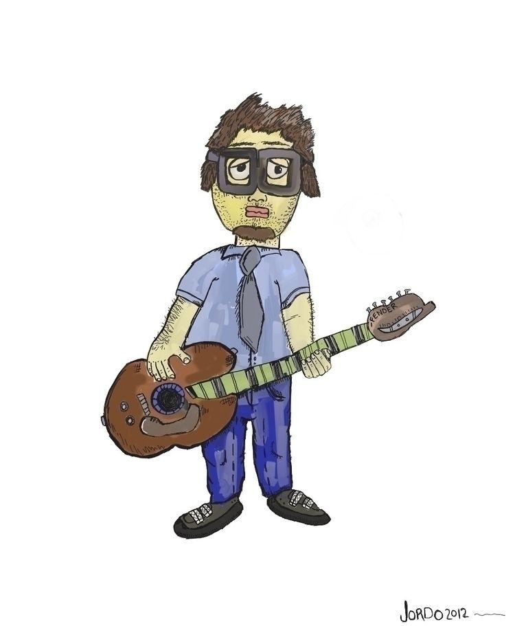 portrait play guitar - cartoon, illustration - magiccottagedrawings   ello