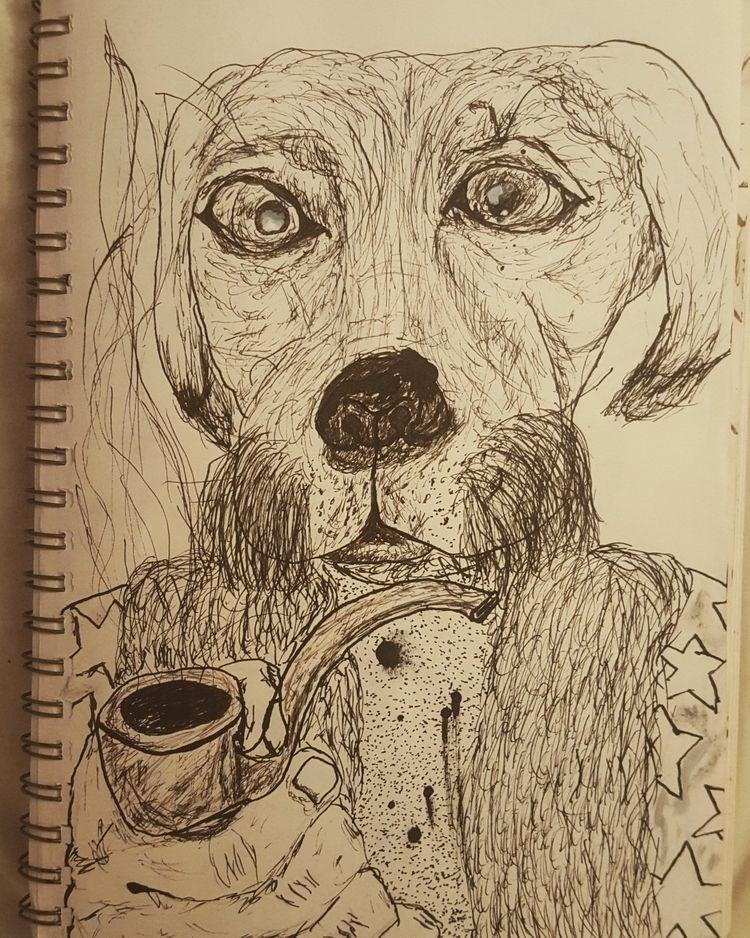 'Wise dog smoking pipe' life ad - poppysbookohshit | ello