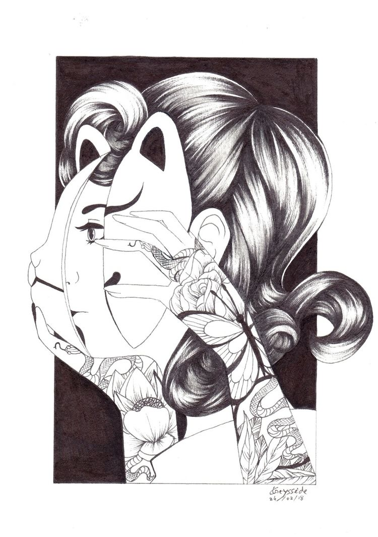 blackandwhite, drawing, draw - ladypocketwatch | ello