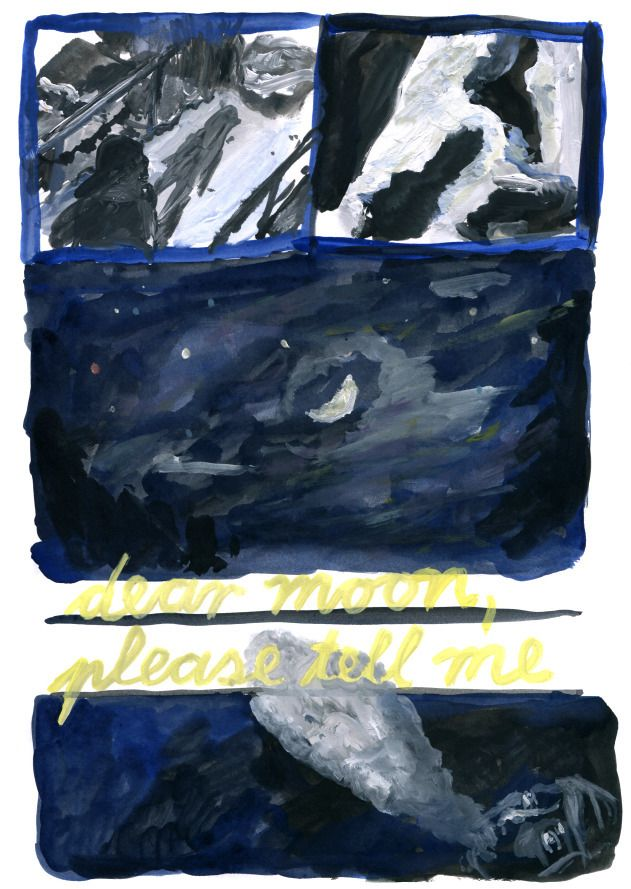 print - moon, illustration, watercolorpainting - kaysee | ello