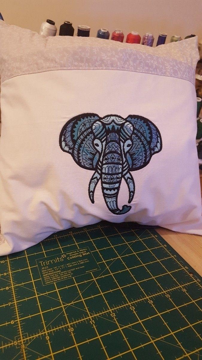 Elephant cushion. 16×16. Embroi - wifeyberk | ello