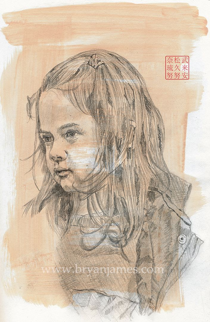 Portrait Young Girl - Pencil ac - bryanjamesart | ello