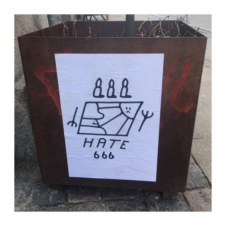 Hate 666 ink paper Street Art 2 - bascofive | ello