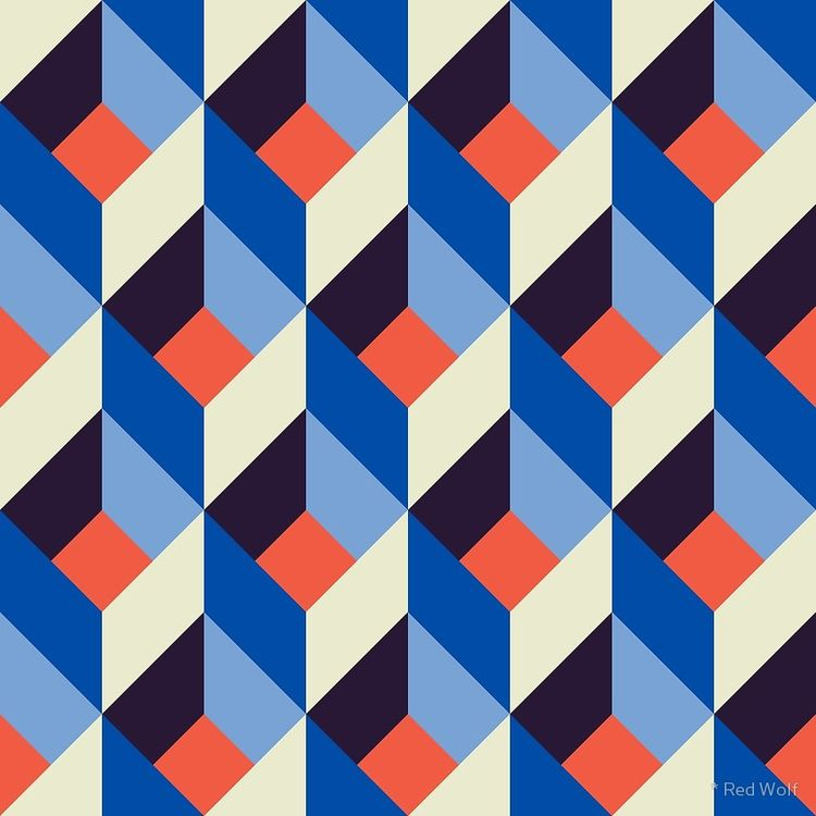 Geometric Pattern: Box: Blue/Or - red_wolf | ello