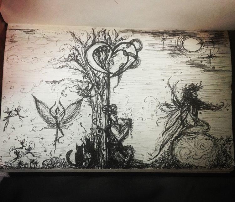 fairies, pan, faun, drawing, doodleart - leneshmarie | ello