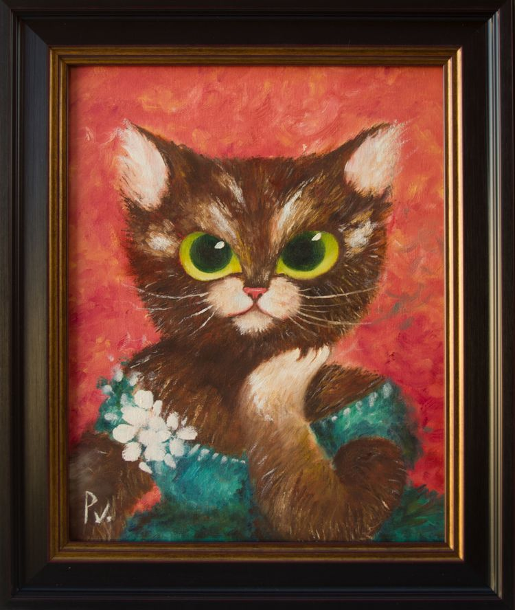 Dream cat Oil canvas 11x14 art  - patitasvagabundas | ello