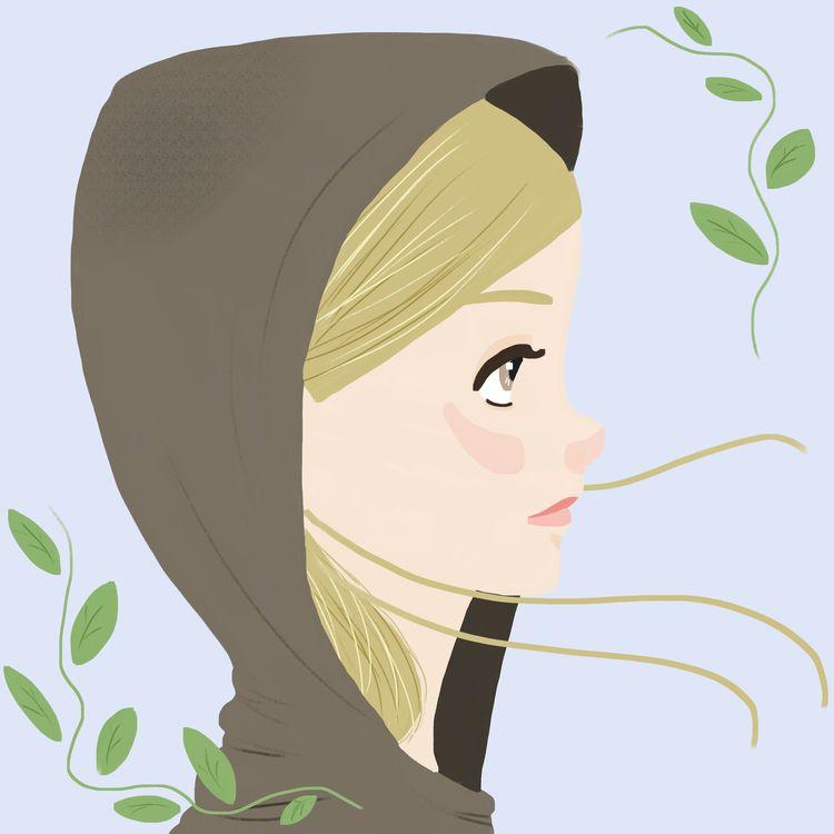 girl hoodie - digital, painting - wildflower86 | ello