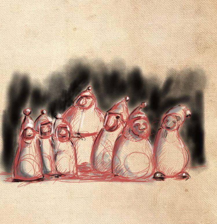 sieben Zwerge - dwarf, drawing, pencil - drhoofman | ello