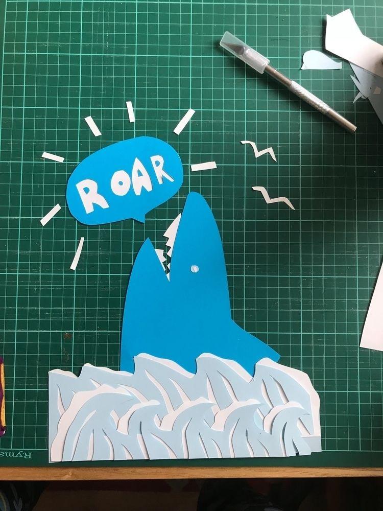 noise sharks - illustration, papercraft - sianellis | ello