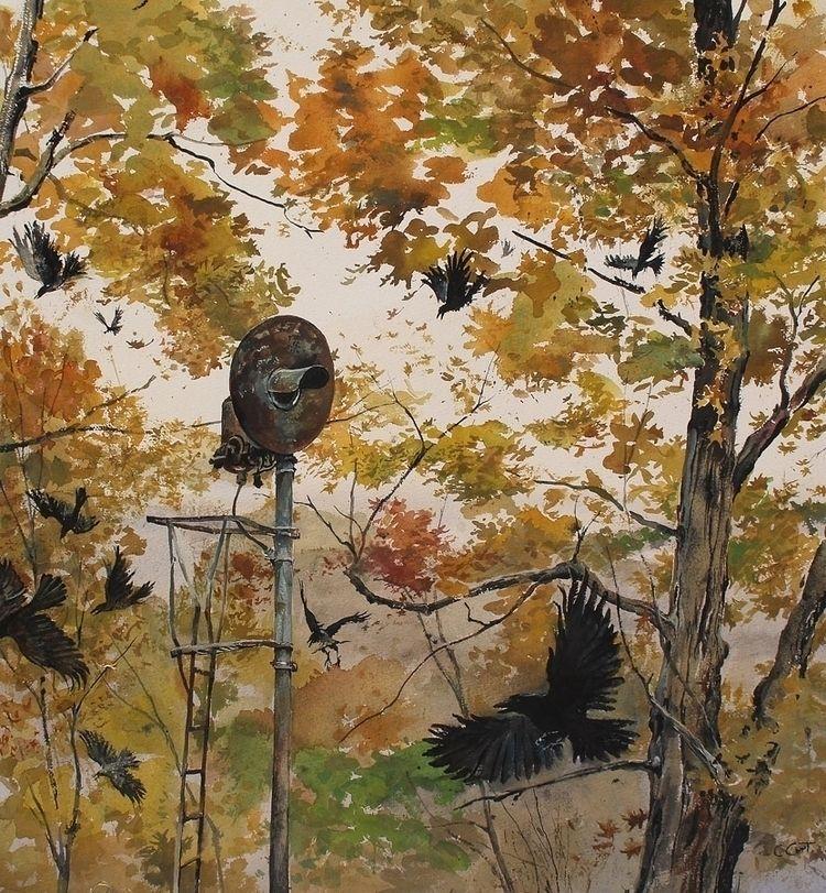 October Crows, watercolor, 23 2 - chriscart | ello