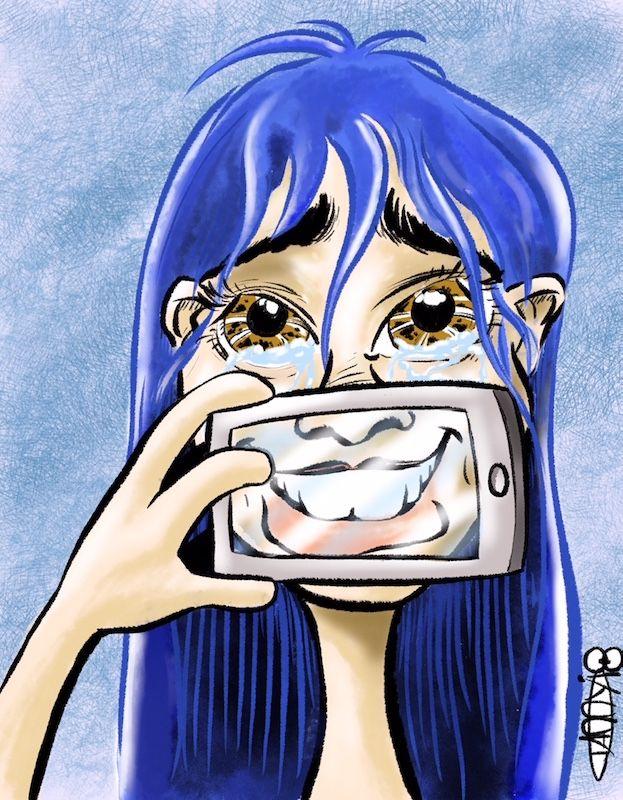 sad face hiding social media. f - zemp | ello