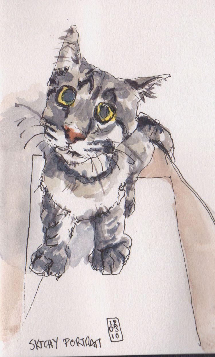 Sktchy portrait. Watercolor pen - toddpop1 | ello