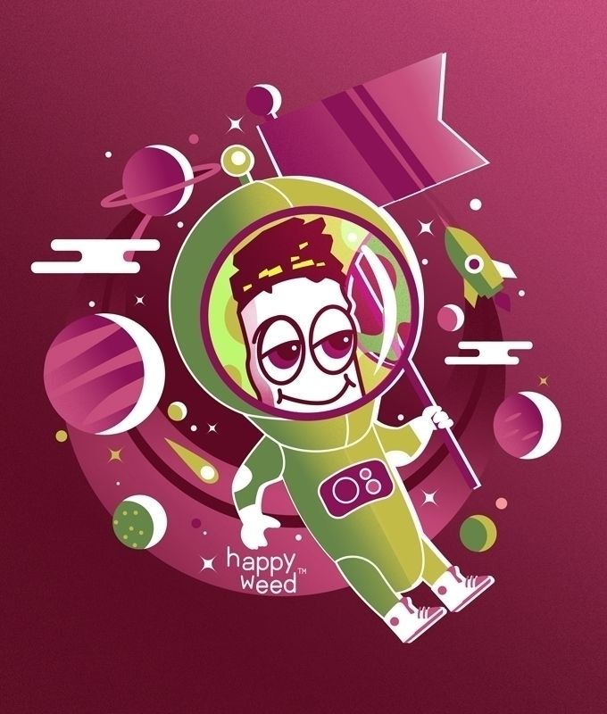 Happy Weed Spaceman - illustration - bo0nsai | ello