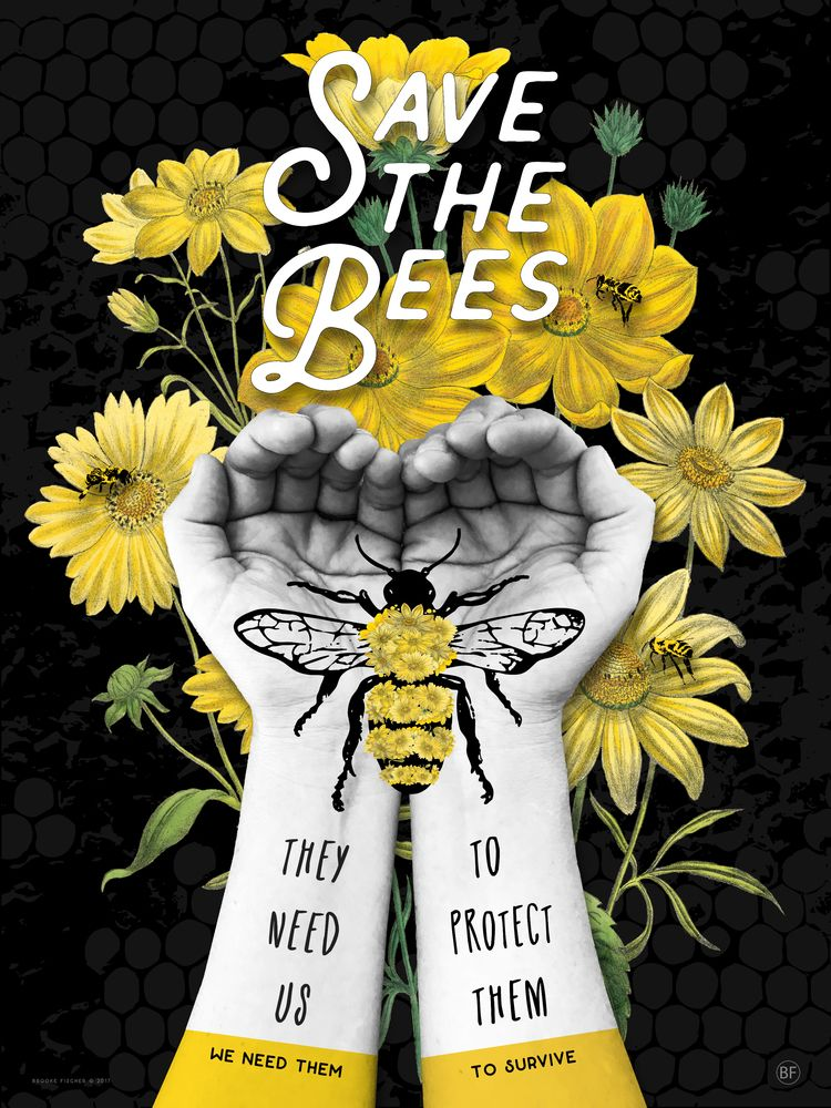 SAVE BEES (HANDS) - subject dea - brookefischer | ello