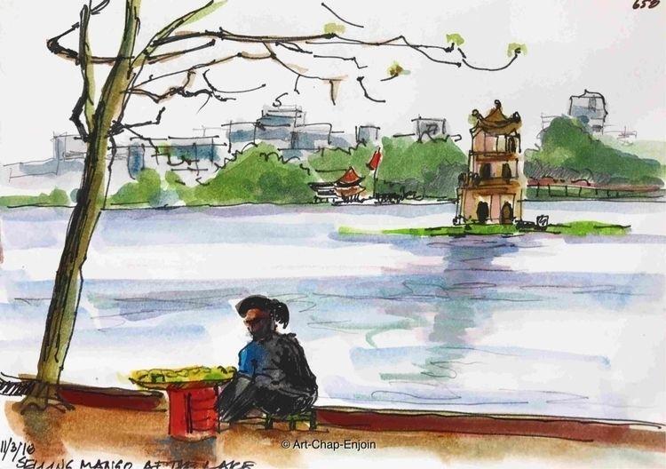 658 - Selling mango lake sketch - artchapenjoin | ello