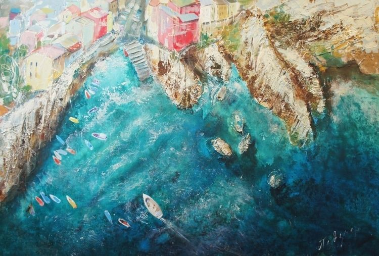 Riomaggiore. Acrylic Canvas, 80 - natashapevzner | ello