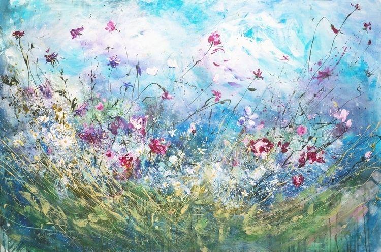 Sky flowers. Acrylic Canvas, 80 - natashapevzner | ello
