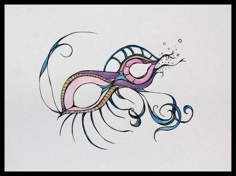 Nice Swim Watercolor ink paper - disgruntledpeon | ello