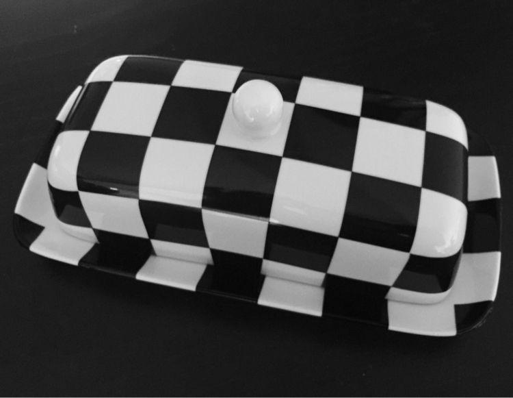 Checkerboard butter dish - art, blackandwhite - fatzac | ello