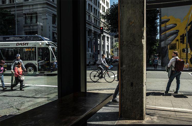corner, bus stop, Los Angeles,  - frankfosterphotography | ello