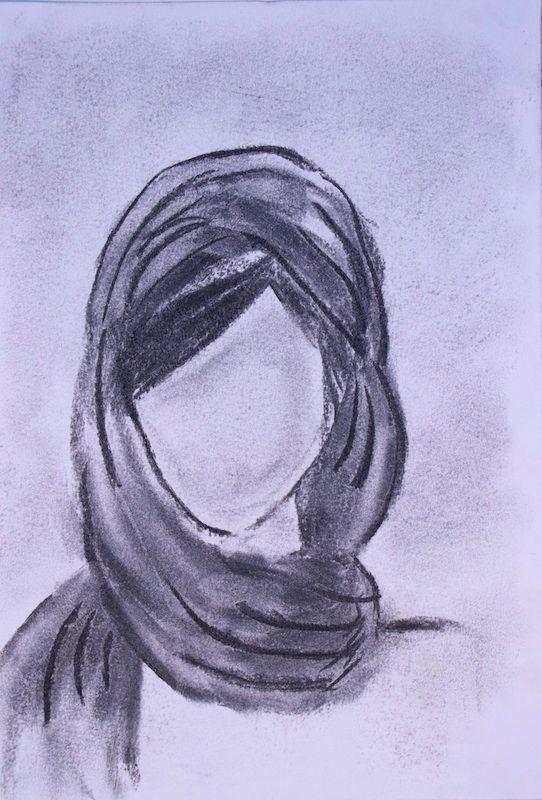 Girl Head Scarf Charcoal paper  - scpfineart | ello