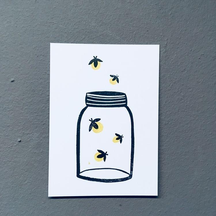 Catching fireflies - lino, linocut - studiomalu | ello