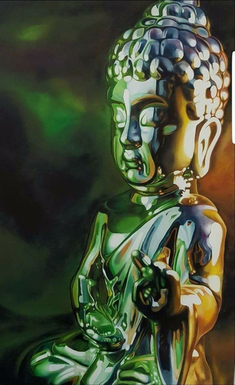 Green Buddha ...oil canvas 48 3 - scottieford | ello
