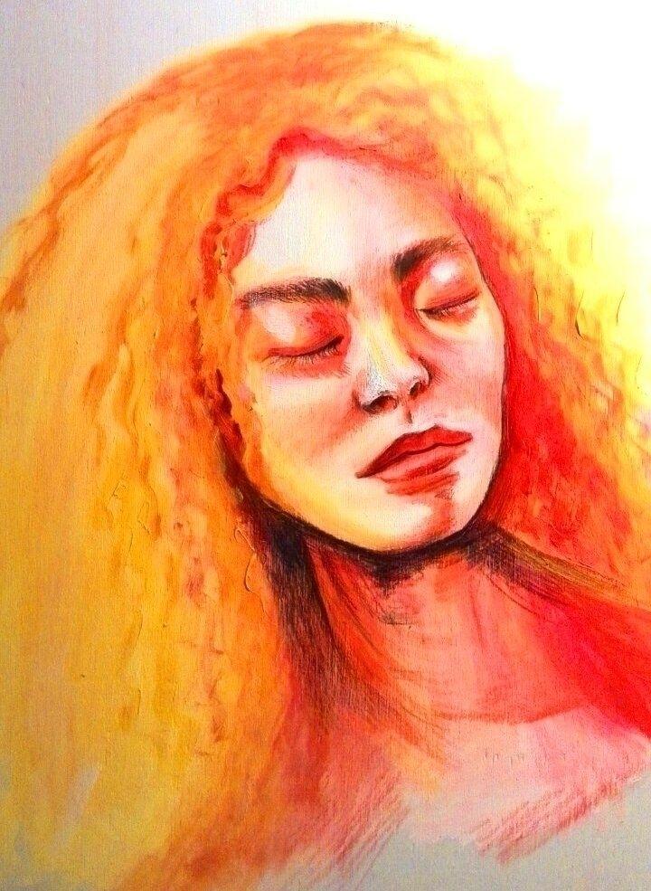 Yellow lady (Acryl Wood - art, arte - katharinawozny | ello