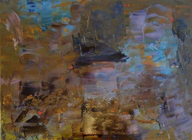 Dark Clouds Yellow 9x12 Oil can - robinccpoole   ello