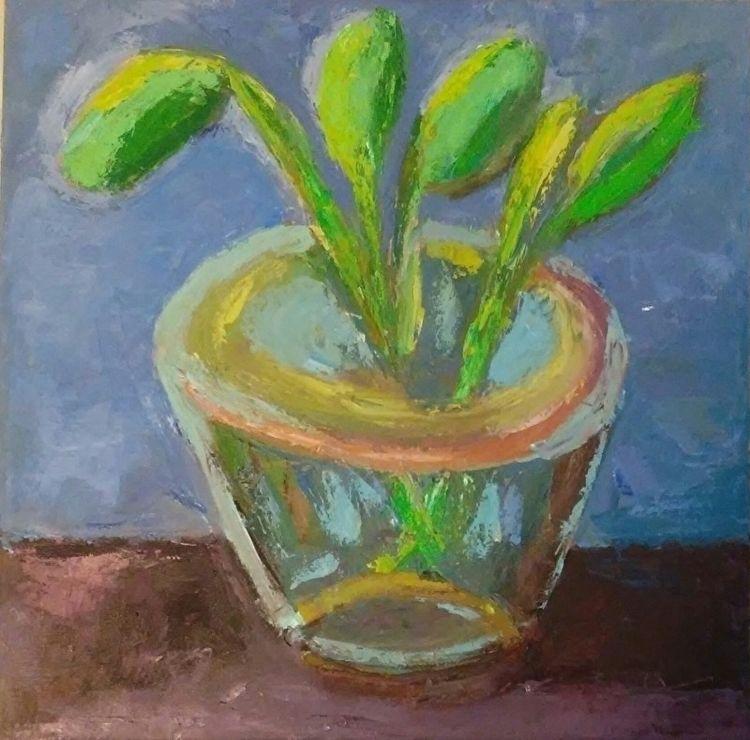 Leaves Blue 18x18 Oil Canvas - robinccpoole | ello