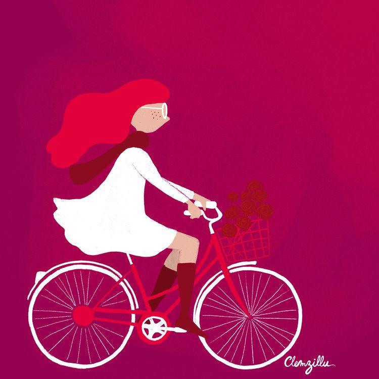 bike, girlonbike, rose, flowmagazine - clemzillu | ello