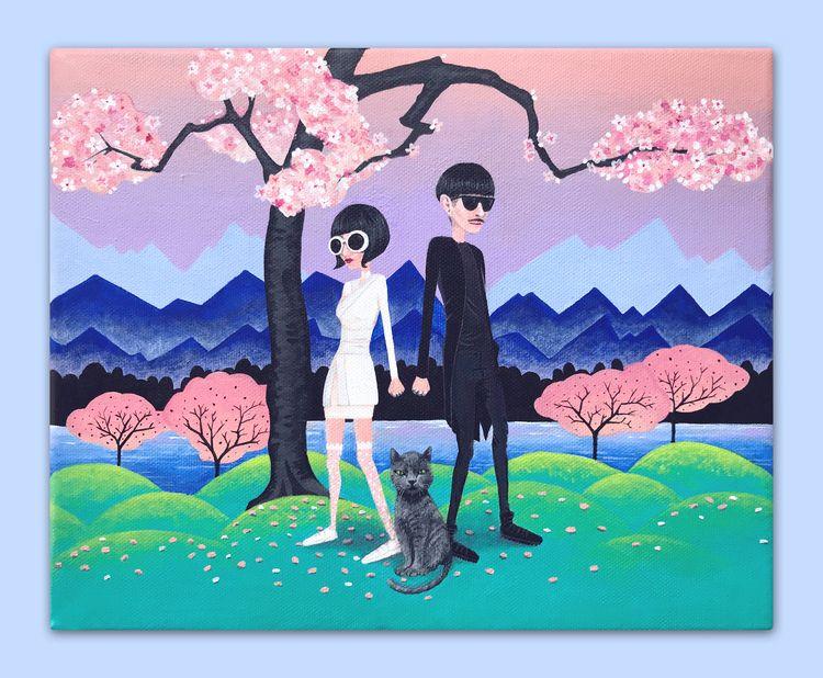 Cherry Blossom Acrylic canvas 3 - shiroschwarz | ello