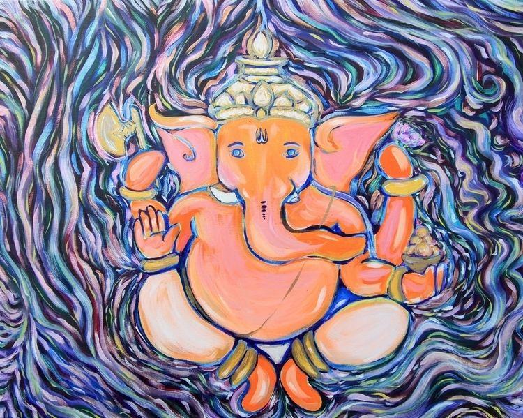 Ganesha Ji 16x20 acrylic canvas - linzeyarbrough | ello