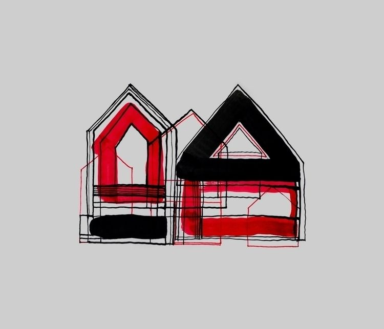 Red Black Houses 02 drawings/pa - istvanocztos | ello
