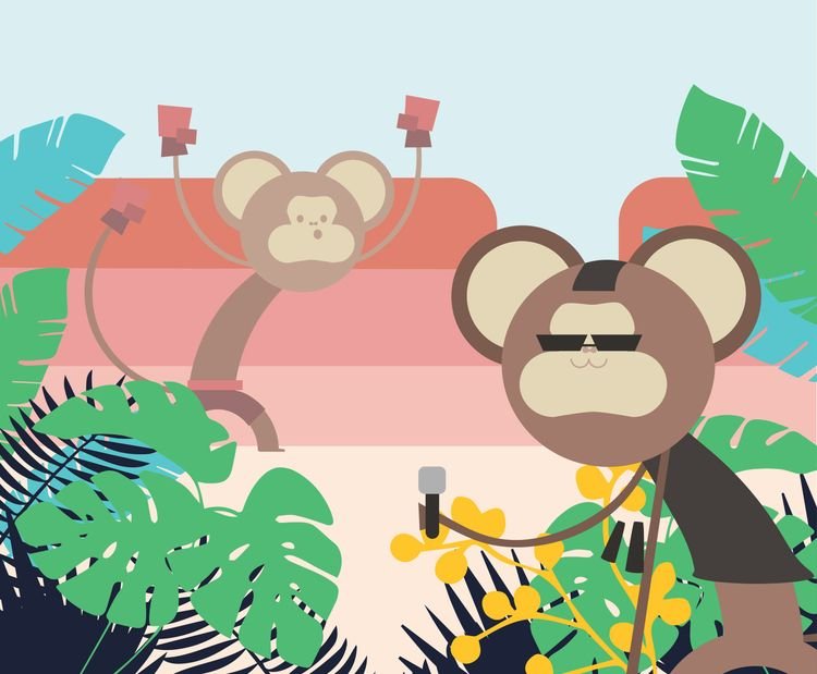 monkey, jungle, vector, art, toasttheheart - toasttheheart | ello