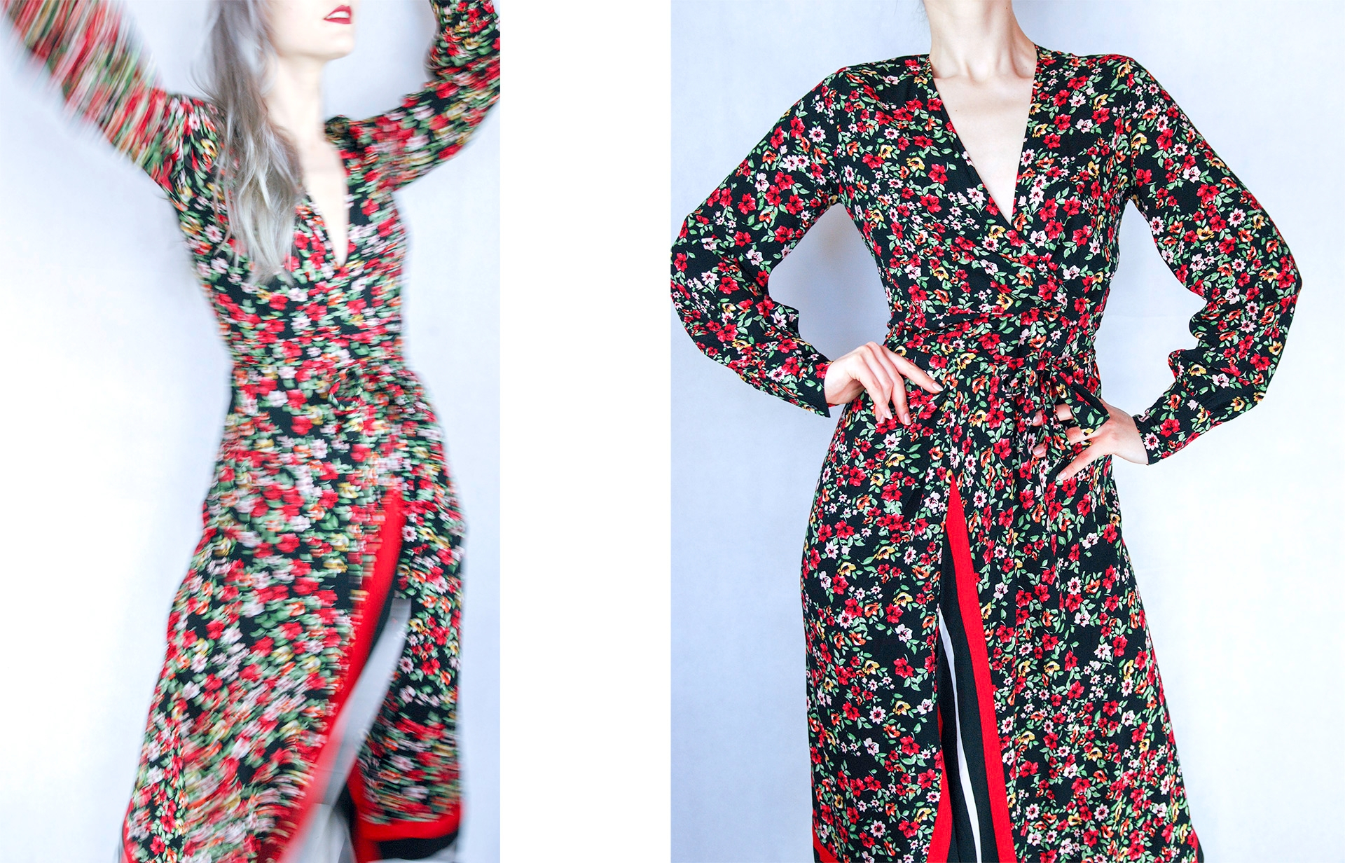 Obraz przedstawia dwa zdjęcia modelki ubranej w długą sukienkę w kwiaty.