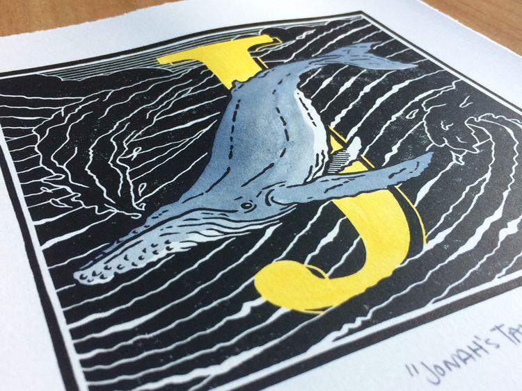 "Tale"", 8 10 hand-coloured linop - monografik | ello"