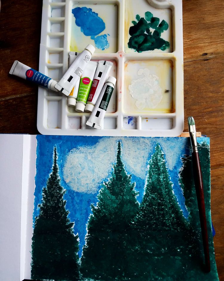 Working Gouache :green_heart::e - natureisfree | ello