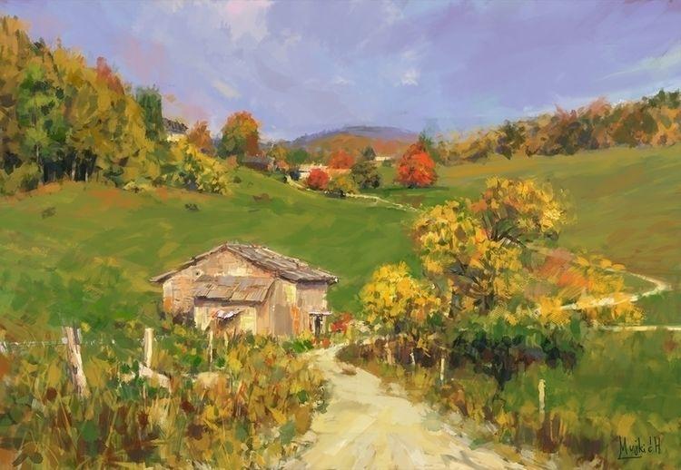 Autumn road Sketch, photo study - mujkicharis   ello