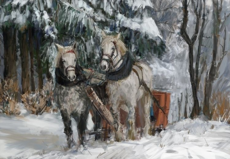 Winter Horses Sketch, photo stu - mujkicharis | ello