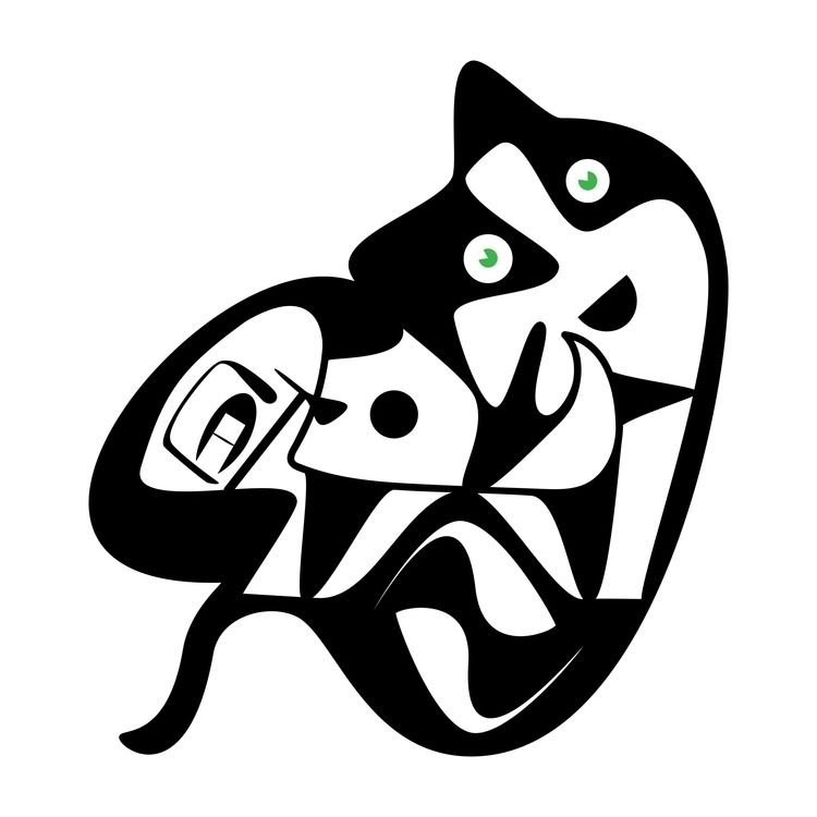 Cat - cat, ello, blacknwhite, illustration - halehj | ello