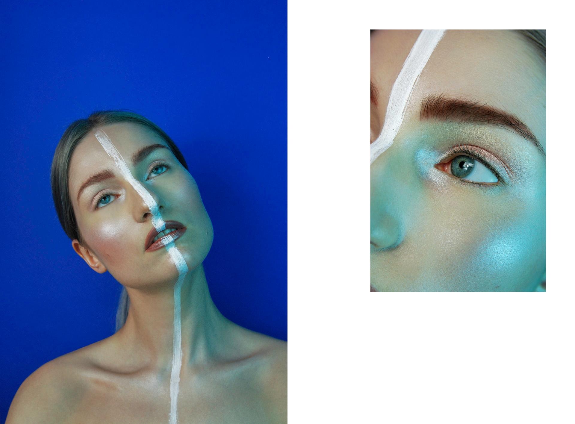Obraz przedstawia dwa zdjęcie. Z lewej strony widzimy portret młodej kobiety, która zerka w górę i ma namalowaną białą linię biegnącą przez twarz i ciało. Z prawej strony widzimy fragment twarzy kobiety.