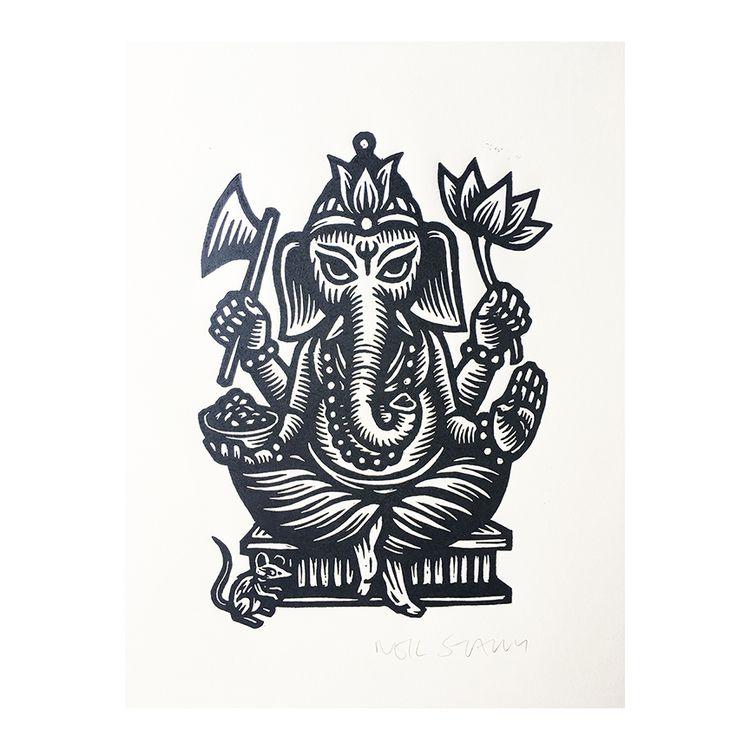 Ganesha, Linocut Art Print Neil - horseandhare | ello
