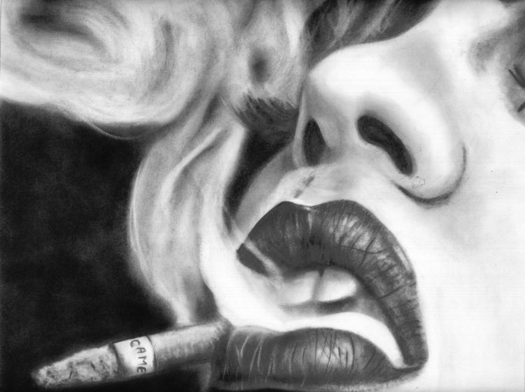 Drawing woman smoking cigarette - jovanagreen | ello