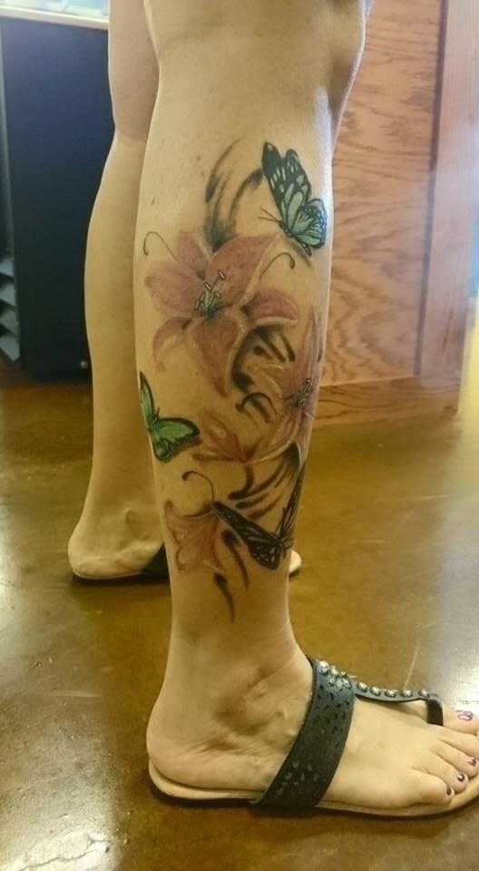 legtattoo, flowersandbutterfly - tattooedwalnut | ello