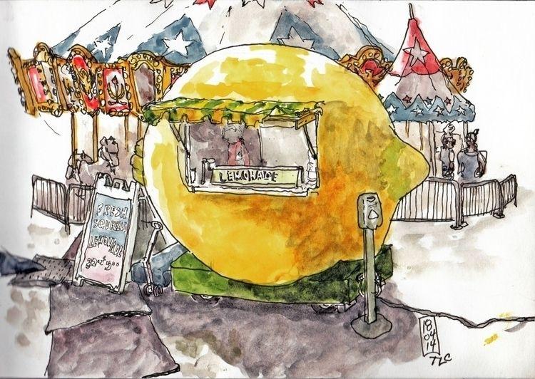 Lemonade stand - carnival., watercolor - toddpop1   ello